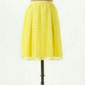 Anthropologie Maeve Yellow Lace Lawn Party Skirt